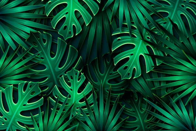 Fundo de folhas tropicais verde escuro realista Vetor grátis