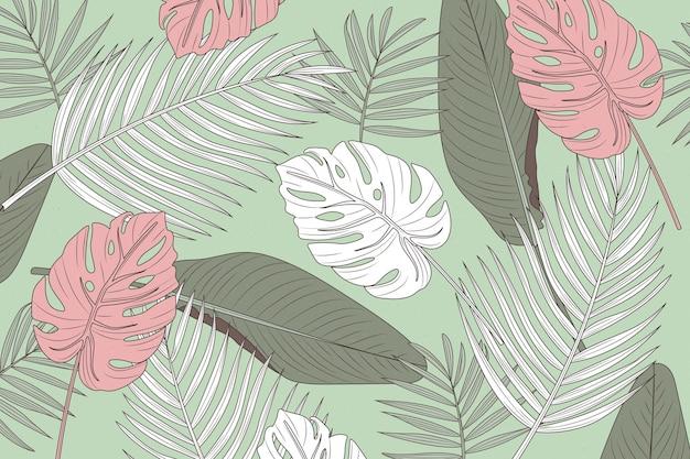 Fundo de folhas tropicais Vetor grátis