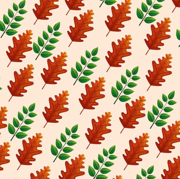 Fundo de folhas verdes e marrons Vetor grátis
