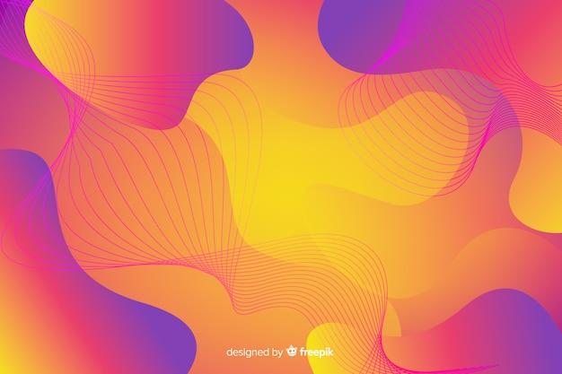Fundo de formas abstratas fluxo colorido Vetor grátis