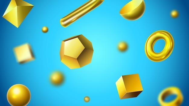 Fundo de formas geométricas 3d abstratas douradas Vetor Premium