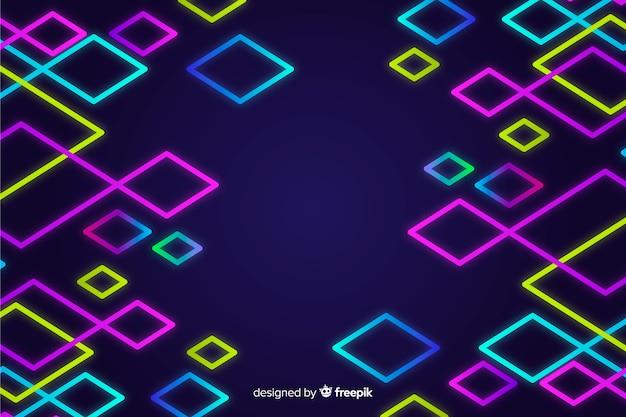 Fundo de formas geométricas de néon colorido Vetor grátis