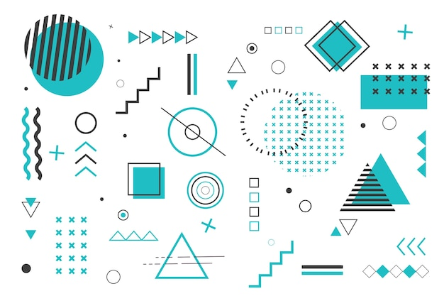 Fundo de formas geométricas em design plano Vetor grátis