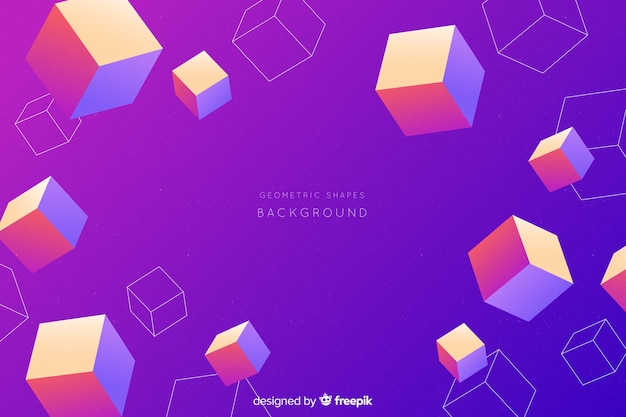Fundo de formas tridimensionais gradiente colorido Vetor grátis