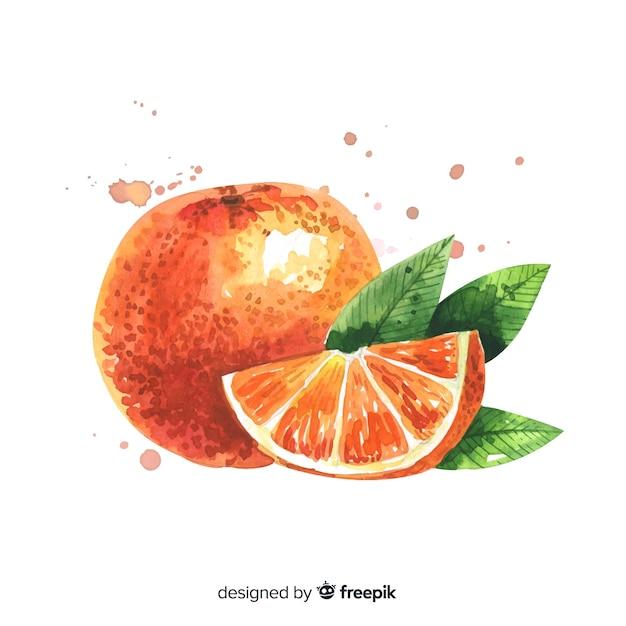 Fundo de frutas com laranja aquarela Vetor grátis