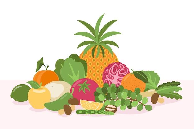 Fundo de frutas e legumes orgânicos Vetor grátis