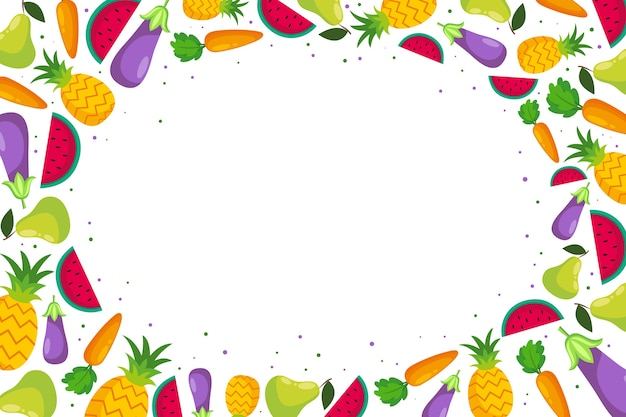 Fundo de frutas e legumes Vetor grátis