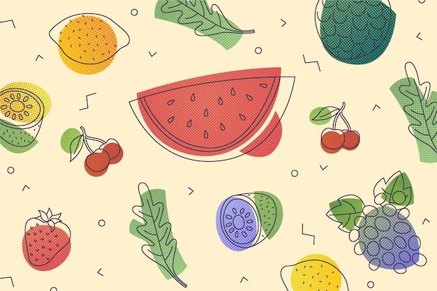 Fundo de frutas e legumes Vetor Premium