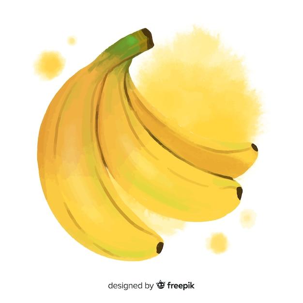 Fundo de frutas em aquarela com bananas Vetor grátis