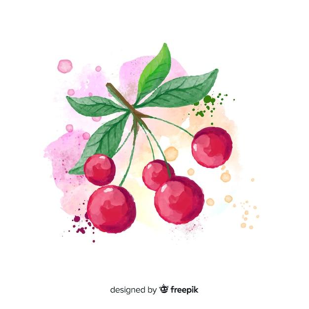 Fundo de frutas em aquarela com cerejas Vetor grátis