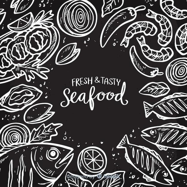 Fundo de frutos do mar Vetor grátis