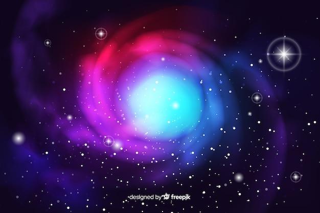Fundo de galáxia abstrata escura realista Vetor grátis