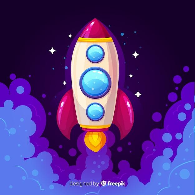 Fundo de galáxia com foguete decolando Vetor grátis