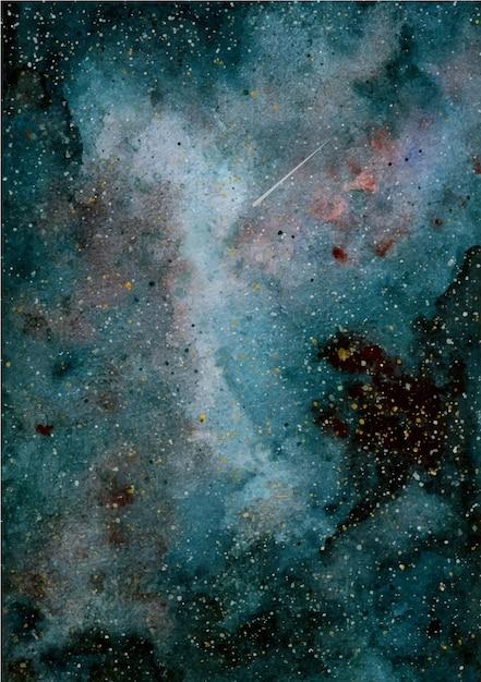 Fundo de galáxia em aquarela Vetor Premium