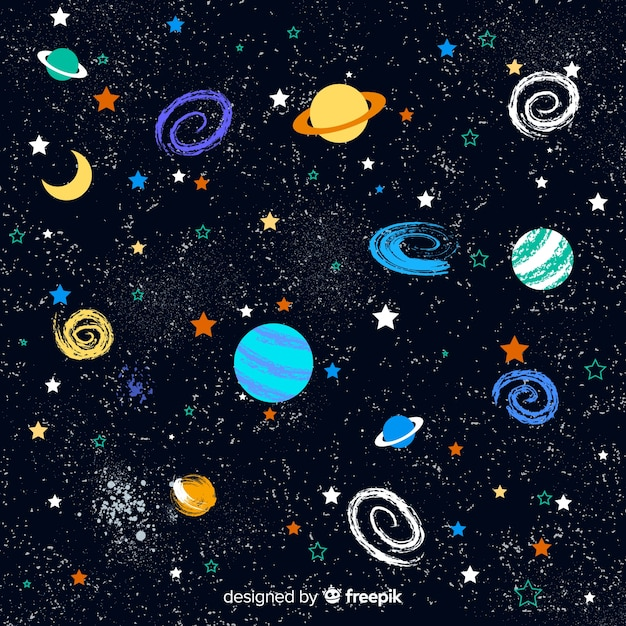 Fundo de galáxia linda mão desenhada Vetor grátis