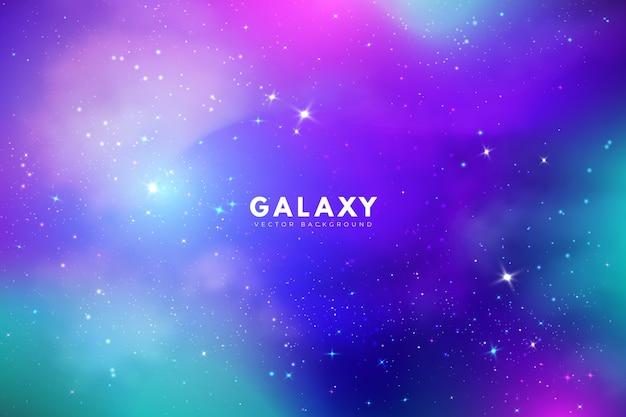 Fundo de galáxia multicolor com estrelas Vetor grátis