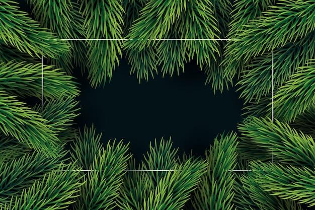 Fundo de galhos de árvore de natal de design plano Vetor grátis