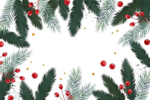 Fundo de galhos de árvores de natal em aquarela Vetor Premium