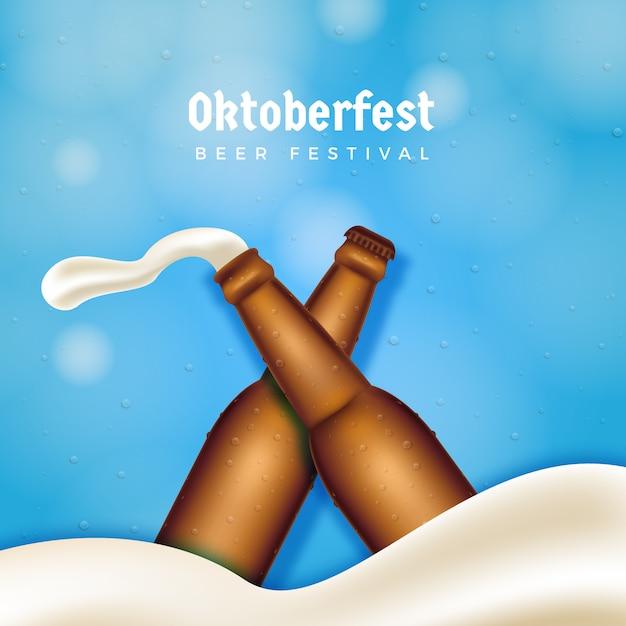 Fundo de garrafa de cerveja oktoberfest Vetor Premium