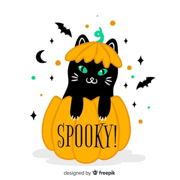 Fundo de gato de halloween em design plano Vetor grátis