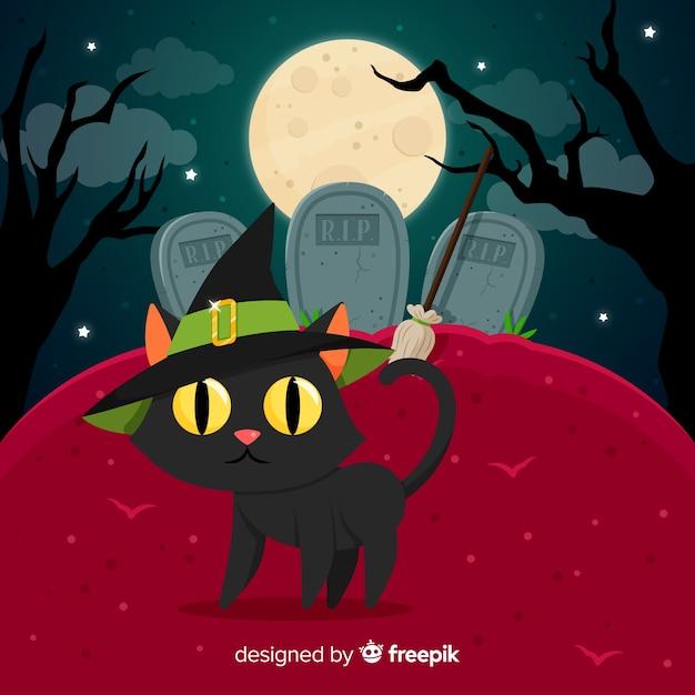 Fundo de gato de halloween no cemitério Vetor grátis