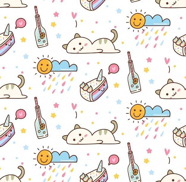 Fundo de giro gato kawaii Vetor Premium