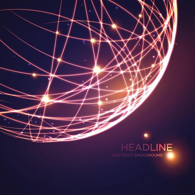 Fundo de globo de grade de néon. ilustração vetorial Vetor Premium