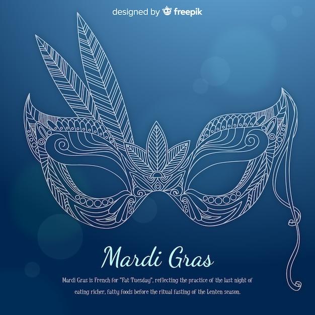 Fundo de grama de mão desenhada máscara mardi Vetor grátis