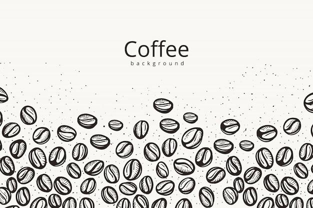 Fundo de grãos de café Vetor Premium