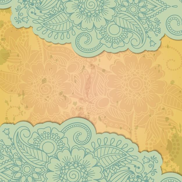 Fundo de grunge floral mehendi indiano de henna Vetor Premium