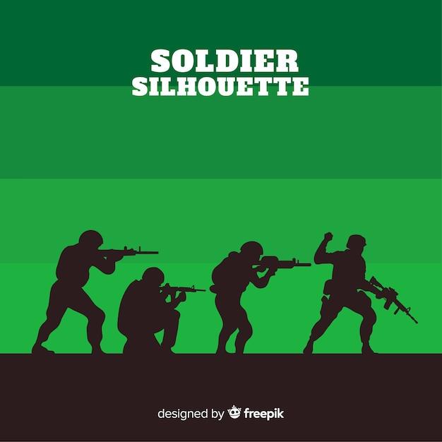 Fundo de guerra com silhuetas de soldados Vetor Premium