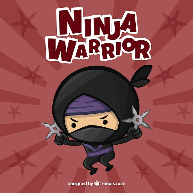 Fundo de guerreiro ninja bonito Vetor grátis