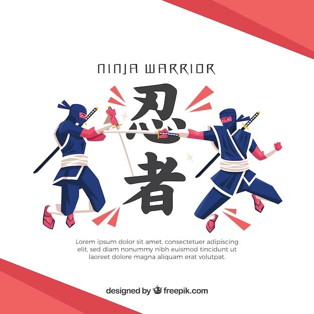 Fundo de guerreiro ninja com design plano Vetor grátis