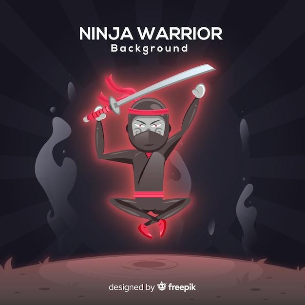 Fundo de guerreiro ninja criativo Vetor grátis