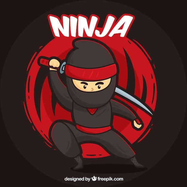 Fundo de guerreiro ninja mão desenhada Vetor Premium