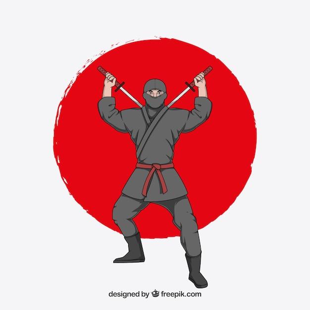 Fundo de guerreiro ninja tradicional mão desenhada Vetor grátis