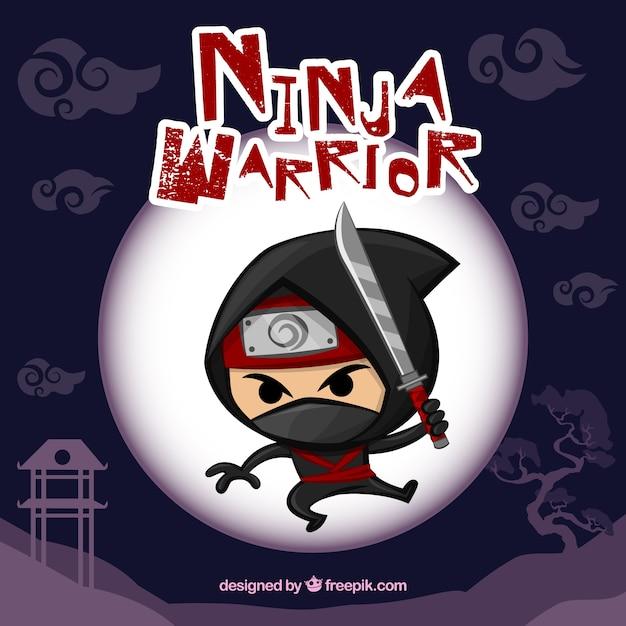 Fundo de guerreiro ninja Vetor grátis