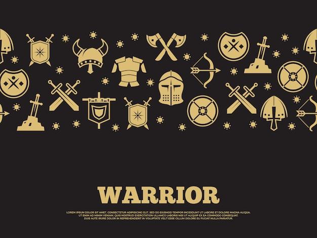 Fundo de guerreiro vintage com mediewal cavaleiros silhueta ícones Vetor Premium