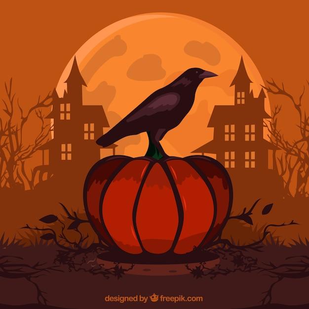 Fundo de halloween com abóbora e corvo Vetor grátis