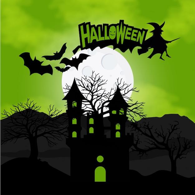 Fundo de Halloween com abóboras na grama Bate-papo e lua nas costas Vetor grátis