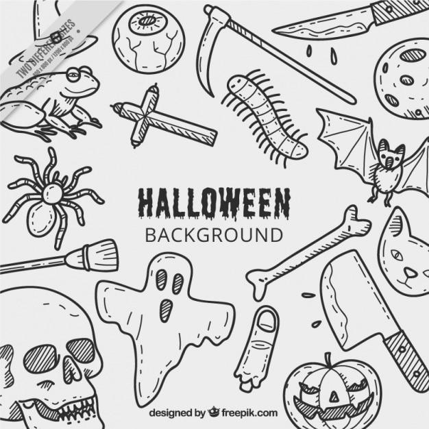 fundo de halloween com desenhos baixar vetores grátis