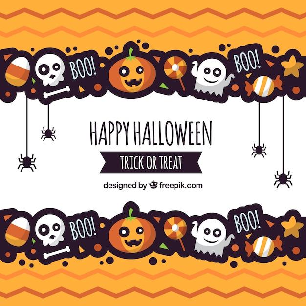 Fundo de halloween com estilo divertido Vetor grátis