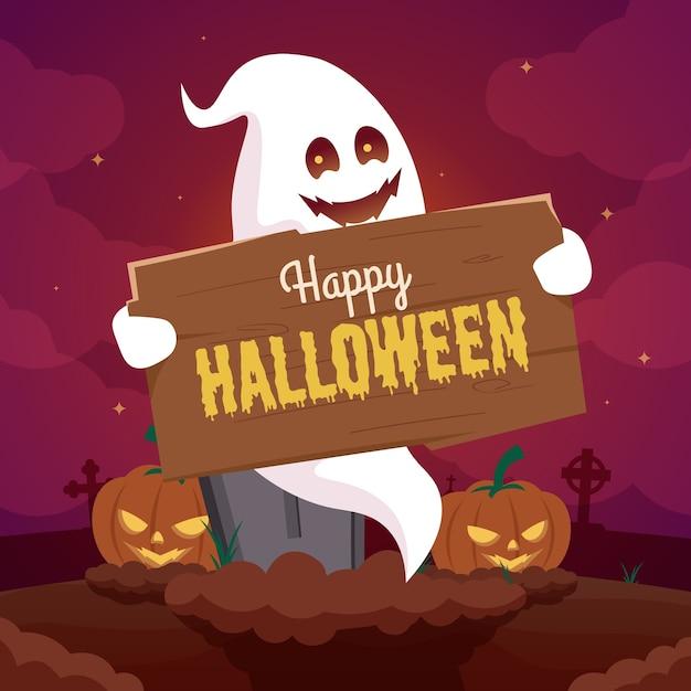 Fundo de halloween com fantasma e abóbora no cemitério Vetor Premium