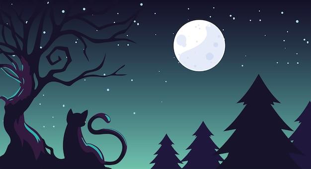 Fundo de halloween com gato no campo escuro Vetor Premium