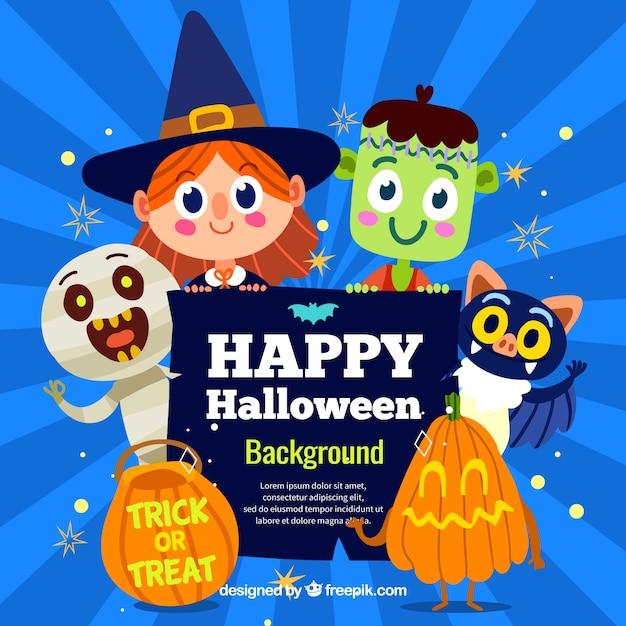 Fundo de halloween com trajes adoráveis Vetor grátis