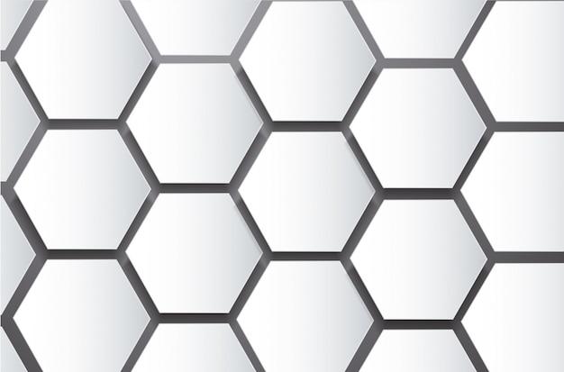 Fundo de hexágono e espaço abstrato colmeia de abelha Vetor Premium