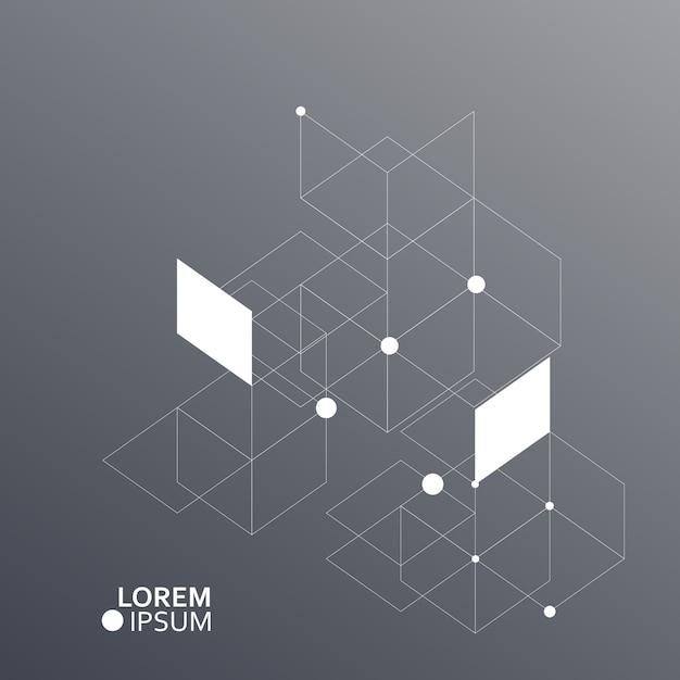 Fundo de hexágonos de vetor. conexão, genética, ciência, química e rede social Vetor Premium
