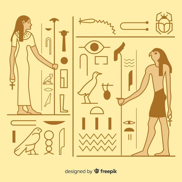 Fundo de hieróglifos antigo egito com design plano Vetor grátis