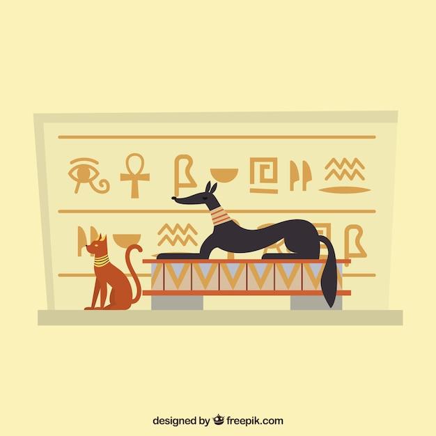 Fundo de hieróglifos egípcios com design plano Vetor grátis