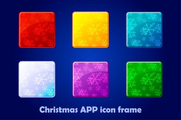 Fundo de ícones de aplicativos quadrados de feliz natal e ano novo. Vetor Premium